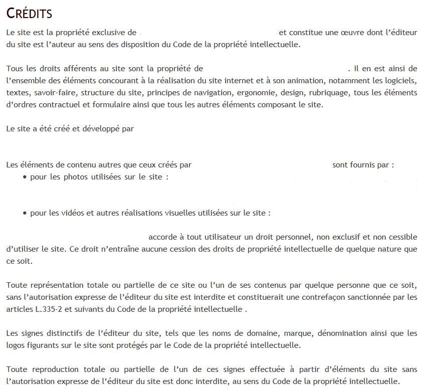 Exemple crédit site internet