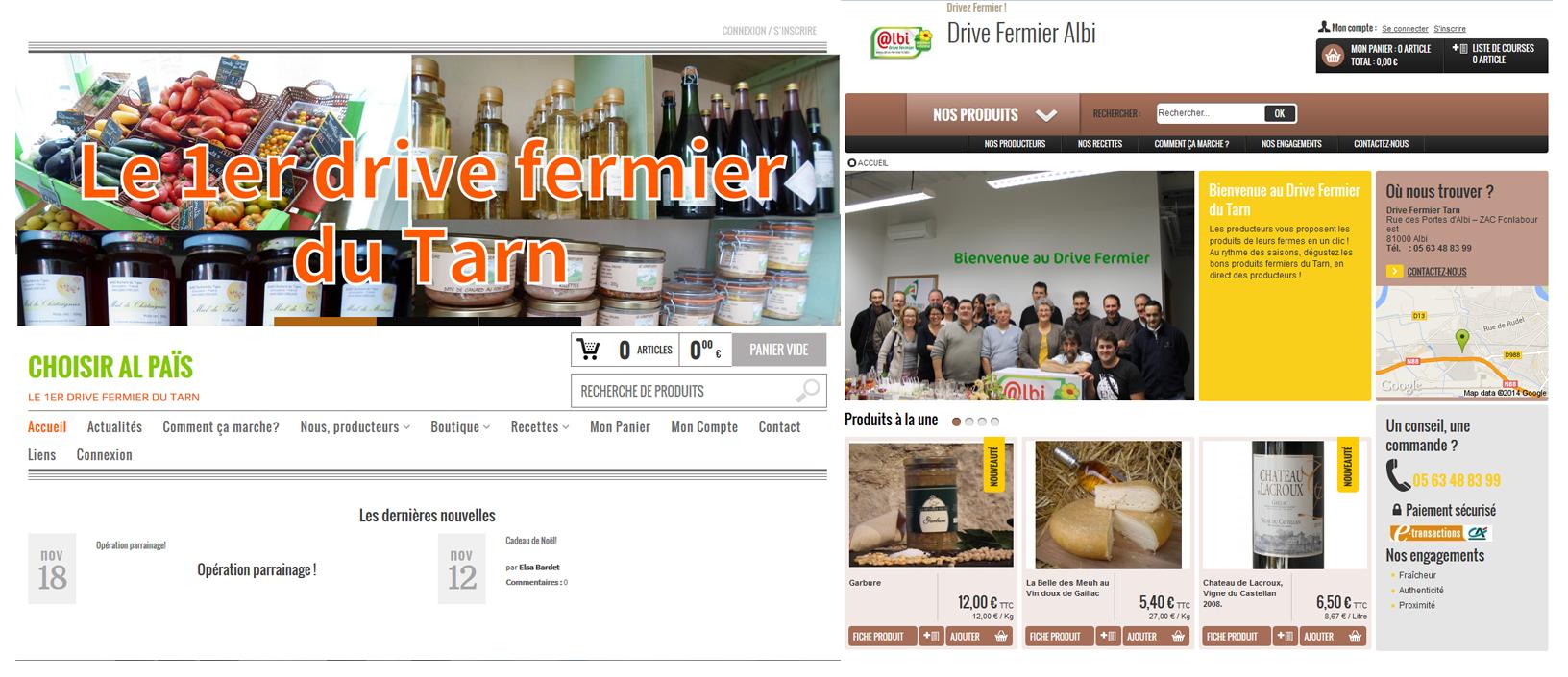 Pages d'accueil des sites internet des drives fermier du Tarn