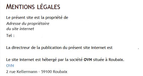 Exemple mention légale site internet