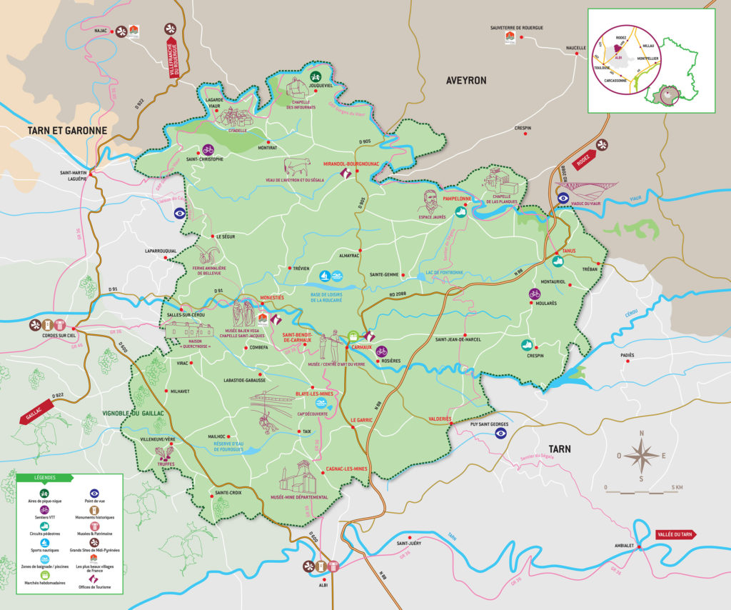 Carte touristique du Carmausin-Ségala